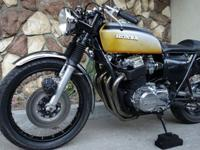 1972 cb750 coffee shop racer. Powder coated wheels with