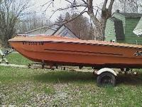 1972 MFG 16FT OPEN BOW BOAT WITH TRAILER NEEDS SEATS &