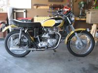 T120 Triumph. Restored in 1996. Hasn't been registered