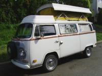 This is a 1972 volkswagon transporter RV for sale. It