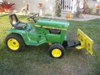 "1973 110 John Deere Lawnmower 47"" cut with plow, chains"