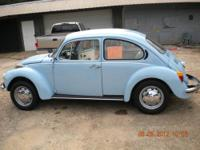 1973 blue super beetle w/ white