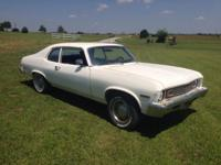 1973 chevy nova, 2 door, L6, runs, body need a little