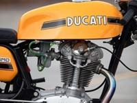This 73 Ducati 450 Desmo is a beautiful example that