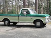 Vintage 1973 Ford F 100 Ranger with 8 foot bed. Almost