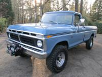 1973 Ford F250 Custom Ranger Highboy 4x4 pickup. It has
