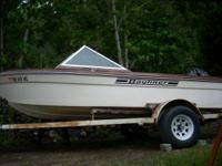 14.5 foot.  50 horse Mercury outboard. Have extra
