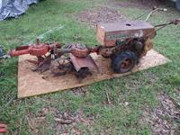 antique old school walk behind tractor, comes with