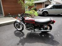 This is a 1975 Kawaski H-2 2 Stroke, 3 cylinder 750cc.