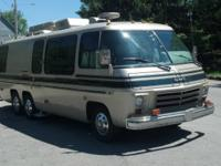 This is a 1976 GMC Glenbrook motorhome. Drive it