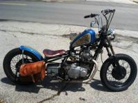 1976 KZ400 Bobber Jig welded hardtail stretched and