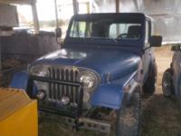 76 cj 7. 258 6 cyl. Auto, runs and drives. No back