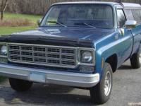 1977 Chevy C20 3/4 ton Truck 2 WD, 8? bed with Cap
