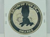 This is a 1977 Krewe of Omardz Mardi Gras Doubloon. It