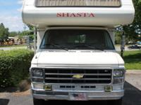 A 1979 Shasta motorhome, 24 feet long, on a Chevy van