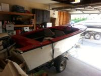 14ft Fiberglass Outboard With Trailer. Good starter
