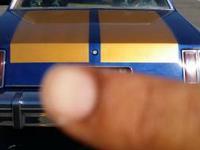 Blue wit gold racing stripes a lot of rainbow flacks 24