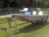 16 foot long lowe Aluminum bass boat. Seats are in good
