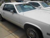 1985 CADILLAC ELDORADO WHITE WITH BLUE LEATHER