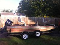 15 foot astro glass bass boat with evinrude 70 hp with