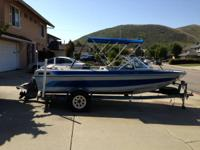 "1985 18"" galaxie open bow boat and trailer, has Chevy"