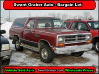 TAKING OFFERS! 1987 Dodge Ramcharger 150 - Swant Graber