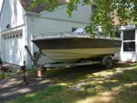 18' CRESTLINER BOAT WITH MERCURY MOTOR AND GALVANIZED