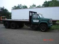 366 big block gas motor, 18 ft dump bed, air brakes,