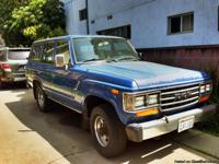 Blue 1988 Toyota Landcruiser FJ62 Original engine with
