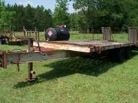 GOOD USED 8' X 20' EQUIPMENT TRAILER. 16' ON THE FLAT.