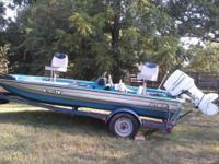 This is a 1989 Pacer Bass boat. It is 15 ft long with a