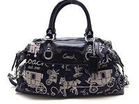 Coach F15653 Black/ White Ashley Signature Carriage