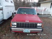 Red 1990 Jeep Cherokee for sale. 5-speed manual, 85k