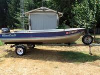 18 hp. Tohatsu outboard, very low miles, like new.