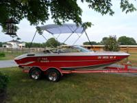 1991 19' Hydro-Glass Bow Rider Speed Boat, Sundeck,