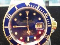 1991 Rolex M#16613 Blue Dial Submariner Mens 2-Tone 18k