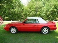 1992 MUSTANG LX 5.0 CONVERTIBLE, VIBRANT RED,