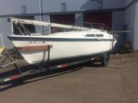 "1992 MACGREGOR 26"" SAILBOAT WITH TRAILER & OUTBOARD"