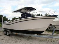 T-top, Twin 200HP HPDI Yamahas, Garmin GPS Plotter,