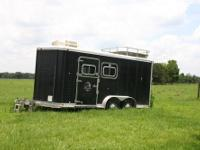 1996 bumper pull three horse trailer with tack room.
