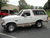 Options Included: Carfax Certified 1996 Ford Bronco,