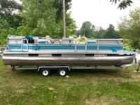 "Nice 1996 24"" Weeres Pontoon & Trailer with 70hp Nissan"