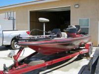 1996 Skeeter 200ZX Bass Boat, equipped with dual live
