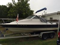 3.0 Mercruiser. Very fuel-efficient. Recently had the