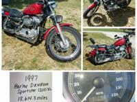 1997 HD sportster 1200xl, red in color, lots of extras