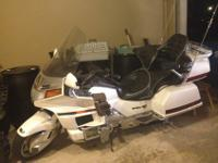1997 Honda Goldwing Motorcycle White and Chrome. This