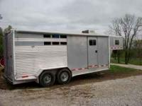 1998 feather lite 3 horse slant load trailer with
