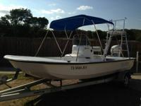 1999 Bay Hawk flat bottom boat with tunnel. The boat is