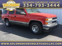 1999 Chevrolet Tahoe LT in Red vehicle highlights