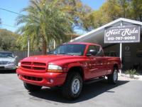 CLEAN 1999 DODGE DAKOTA 4X4 SPORT CLUB CAB, RED WITH